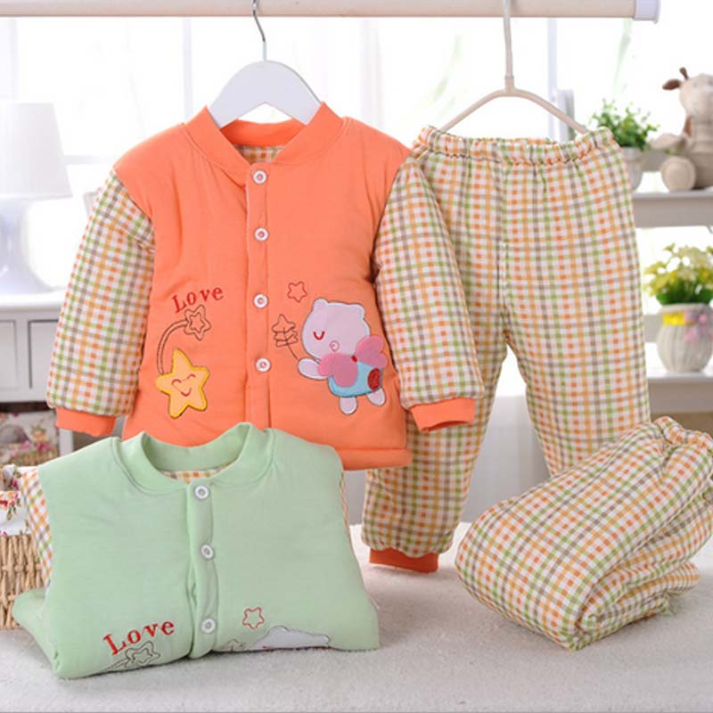 caa20021 new style cartoon printed thick baby winter inner suits