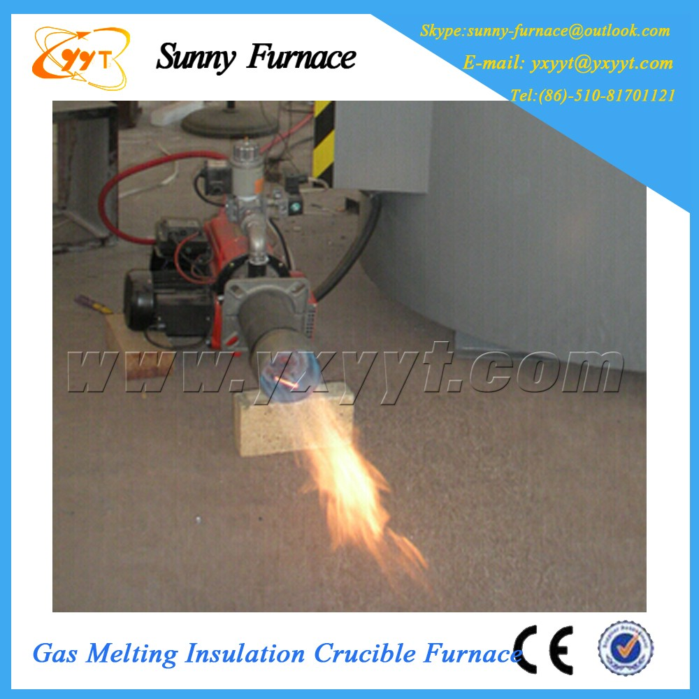 small aluminium melting gas graphite crucible furnace