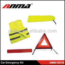 warning triangle kit/ reflective vest kit with warning triangle/ road traffic car emergency kit