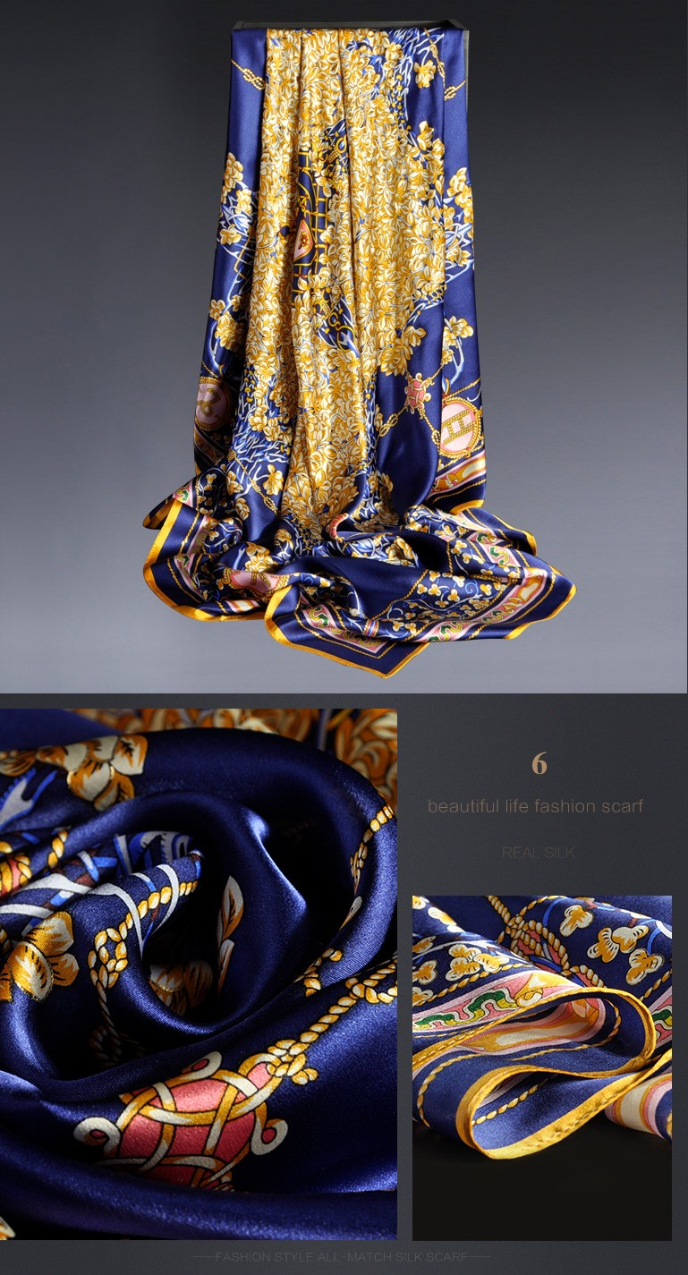 Luxury logo digital print custom design 110cm square printed silk satin scarf