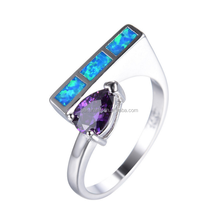 Unique Design 925 Sterling Silver Pear Cut Amethyst Purple Zircon CZ Blue Fire Opal Anniversary Ring For Women
