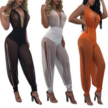 X61766A 2017 Summer Beachwear Playsuits Wide Leg Overalls Sexy Mesh Transparent Jumpsuits