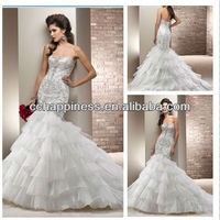 Sweethear fishtail wedding dresses wedding gown with heavy applique beads