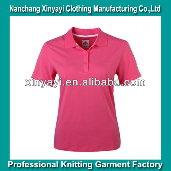 Light red solid color women polo/women plain polo shirt