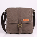 High quality stone wash canvas messenger shoulder document bags for teens