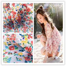 Lightweight transparent floral print 100%polyester silk crinkle chiffon fabric