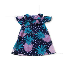 Yawoo summer cute pineapple print off-shoulder one-piece boutique dress baby girls summer designer wholesale smock dress/skirts