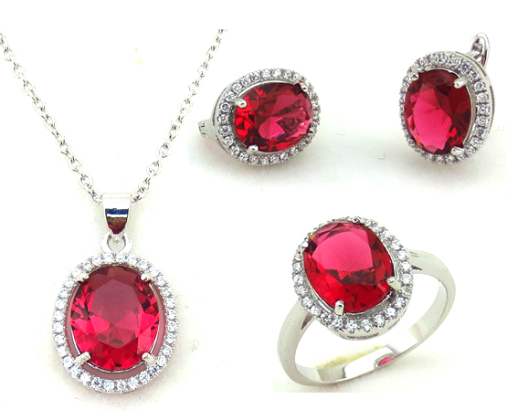 China custom sterling silver crystal jewelry necklace set
