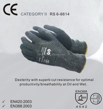 RS SAFETY heavy duty oil industry knitwrist softtextile nylon pu coated glove