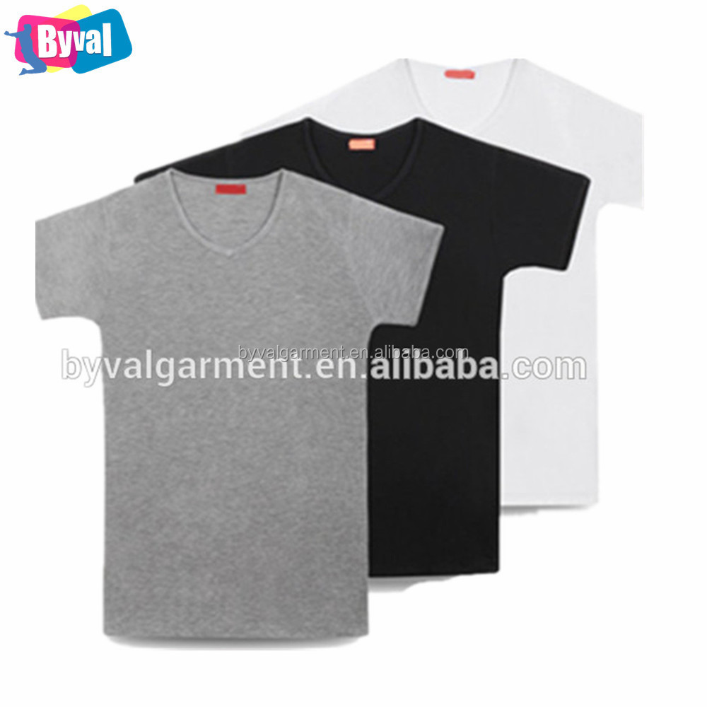 China manufacturers clothes grey polyester cotton t shirt plain for men