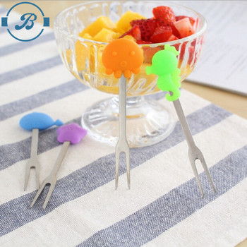 LFGB and FDA Certifications Stainless Steel Fruit Fork with silicone handle