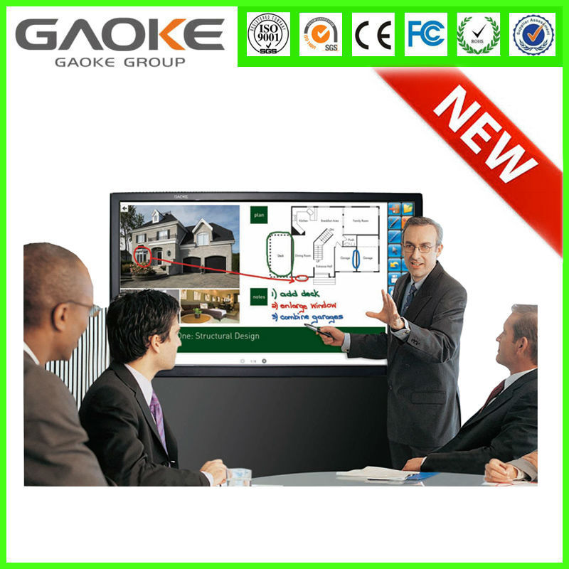 Gaoke 65 inch led interactive multimedia touch screen overlay system frame monitor all-in-one pc tv flat panel