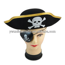 Costume dress Party Supplies Pirate Captain Flat Hat Plastic Pirate eye Patch Props