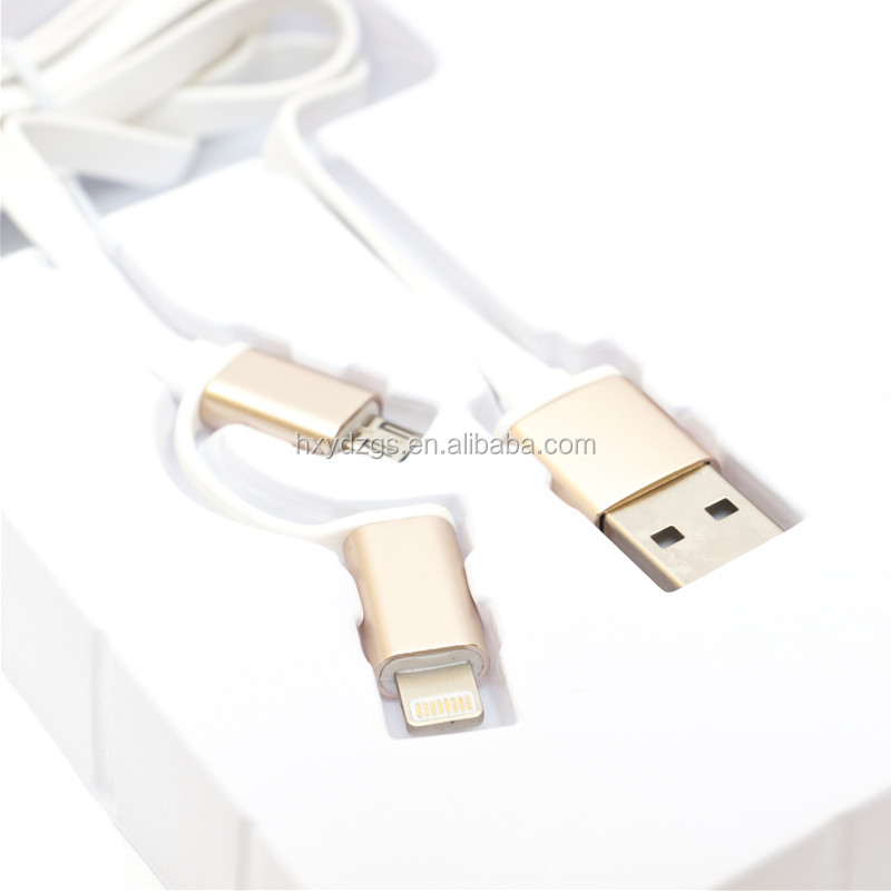 white color TPE material flat multi usb cable with metal housing for mobile phone charge