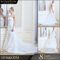 New Luxurious High Quality front slit wedding dress white and silver wedding dresses