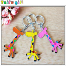 Nice quality custom lovely carton metal zinc alloy giraffe keychain