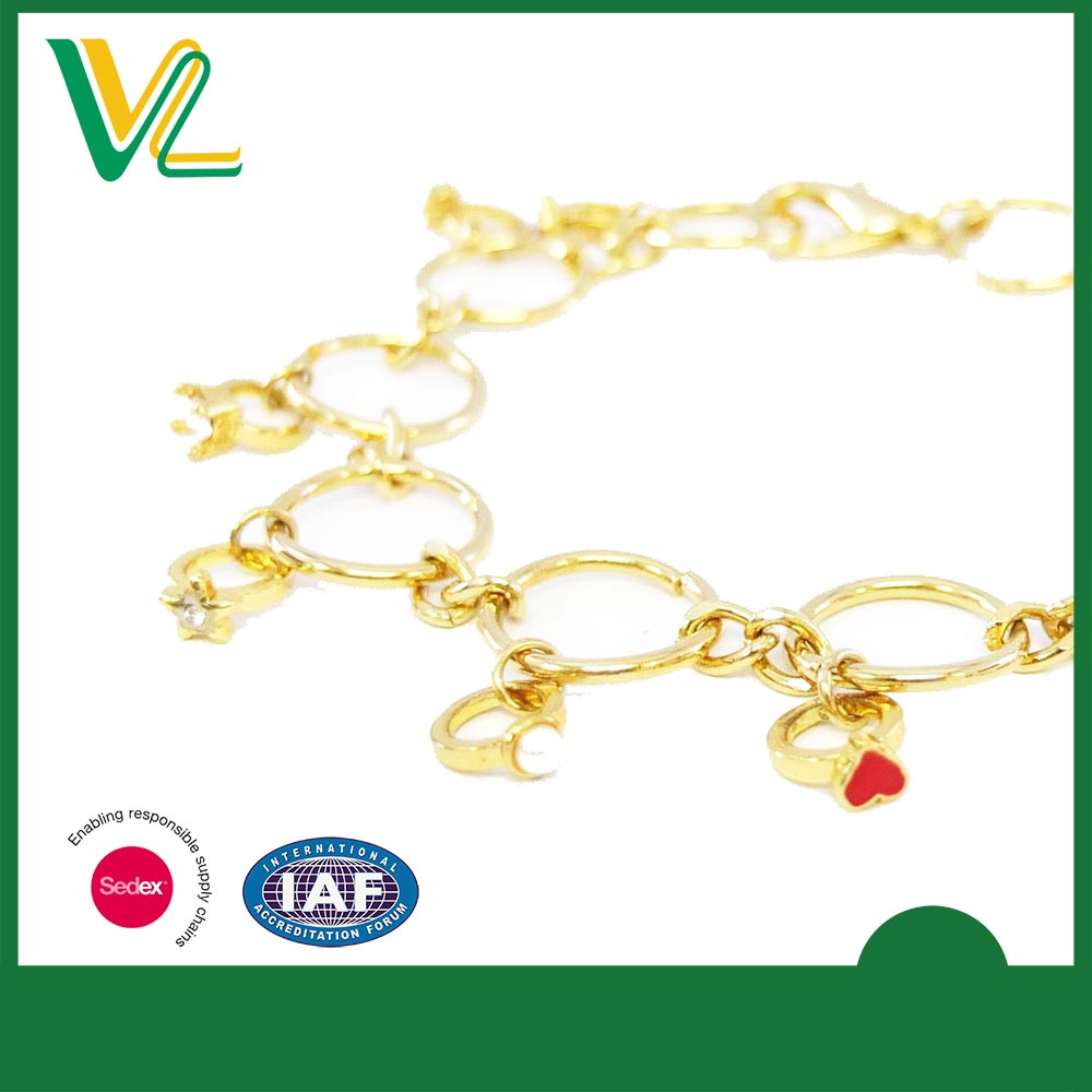 Customized professional Metal Plain Gold Lobster clasp Souvenir Bangle