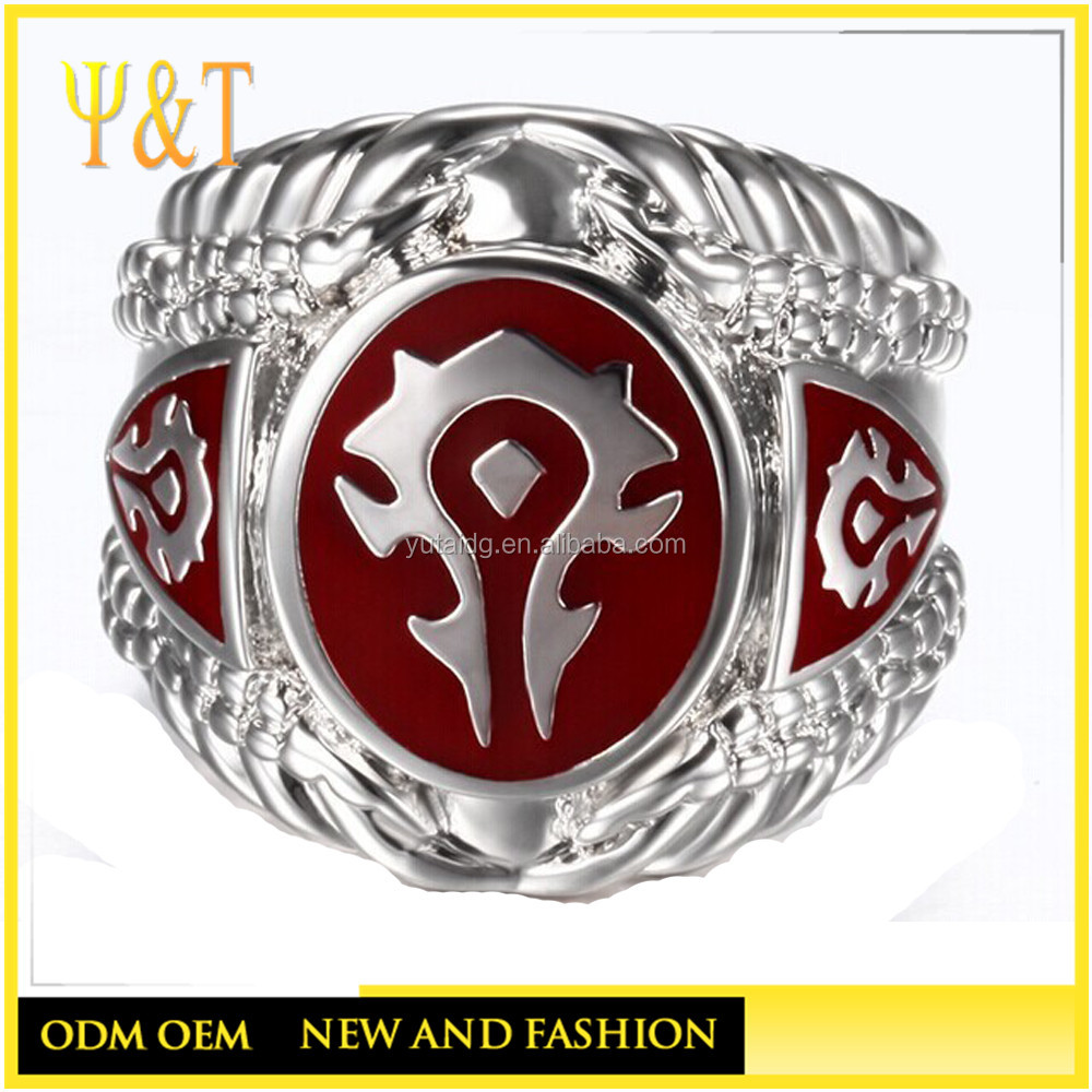 Jingli jewelry factory direct 2016World of Warcraft 316L Stainless Steel Ring,the WOW Red Enamel Horde Logo Women/Men Ring(