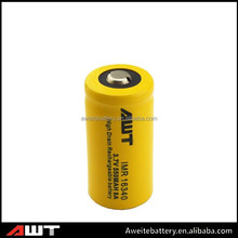 AWT 16340 li-ion rechargeable battery 550mah 8A storage battery for mechanical mod led bulb raw material