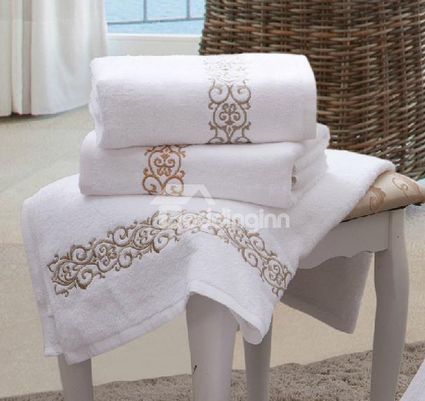 100 percent cotton High Quality Embroidery Floral Border Print Bath Towel
