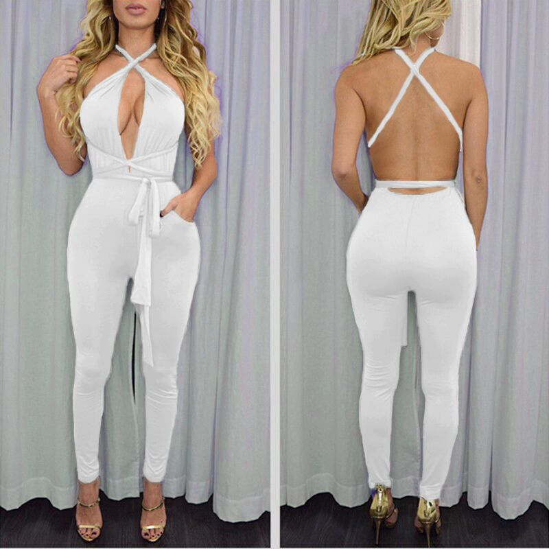 ZH01120B Wholesale fashion bandage halter lady rompers women sexy one piece jumpsuit