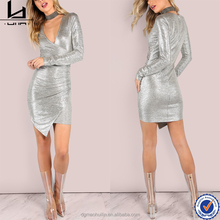 China online shopping ladies long sleeve plunging v neck wrap bodycon clubwear dresses