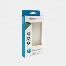 Art paper packaging boxes for USB Power Adapter/car charger packaging boxes with clear window