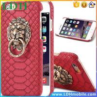 For Apple iPhone5 5S Luxury Snakeskin Style 3D Lionhead Pattern Metal Finger Ring Stand Case Deluxe Ultra Hard Back Cover Bag 5s