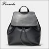 2017 best sell stylish black fashion genuine Leather women's backpack bag