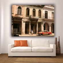Old building and car canvas art printing painting