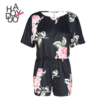 HAODUOYI Women Sexy Print Backless Crew Neck Breasted Romper Beach Party Short Sleeve Jumpsuit