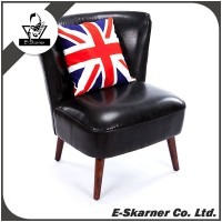 E-Skarner small one seat black leather sofa chair for single person