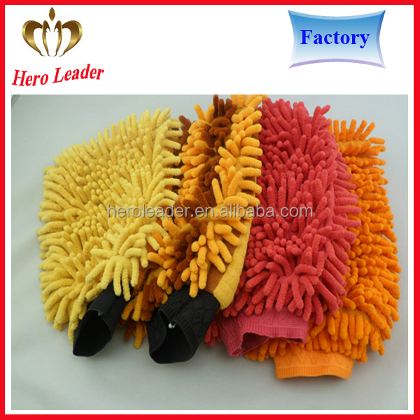 Microfiber two- side chenille car cleaning glove microfiber chenille car wash mitt glove