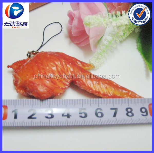 New Cool Chicken wings Food shaped Plastic keychains