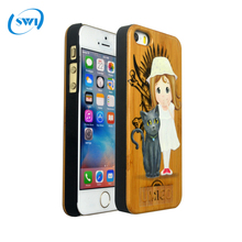 Hot Selling 3D Colored Drawing Printer Wooden Back Case Cover For iPhone 5 5S 5C