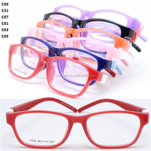 Fast shipping 1104 high classic pupil TR90 prescription glasses square frame flexible removeable hingless temple for kid
