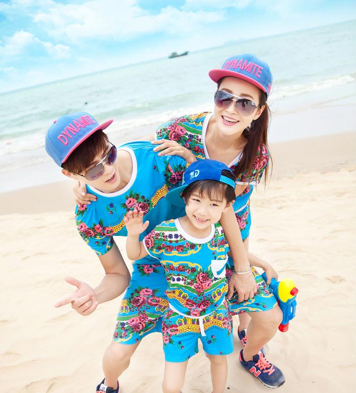 X61150A Summer Family Matching Clothes Parent-child Casual Outfits