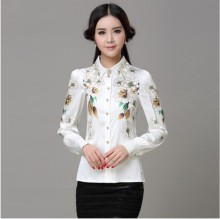 Ladies Printed Collar Slim Hand Work Design Dubai Stype Blouse from Top Industrial Distributor