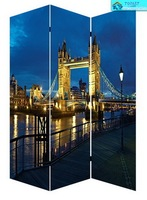 Cityscape 3 panel canvas home decorative folding screen room divider office school supplies
