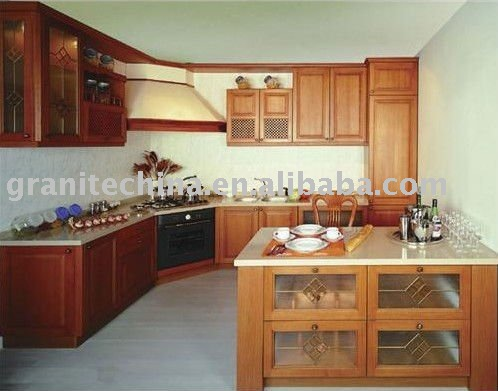 Honey birch kitchen cabinet