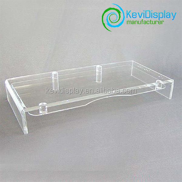 Wholesale Transparent Acrylic Computer Monitor Stand With Keyboard Storage
