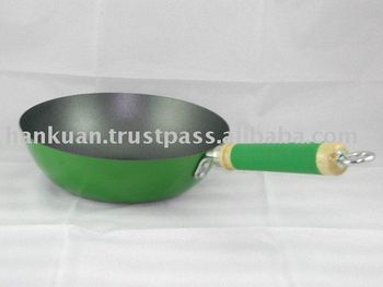 Ceramic Non-stick Stir Fry Pan with Wooden Silicone Handle