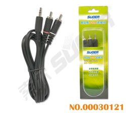 Male to Male 3.5mm Stereo to 2 RCA Audio/Video Cable (AV-102C-1.5m-Silver)