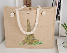 2016 Eco-friendly Printed Natural Fashion burlap jute tote bags Wholesale