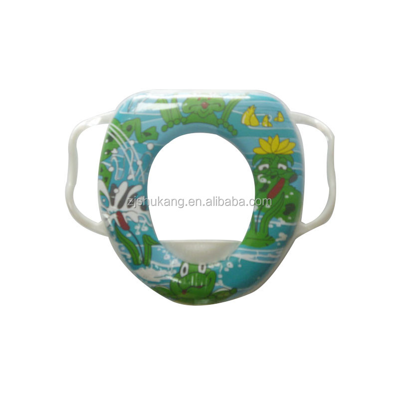 Zhejiang Shukang custom pvc thermal transfer print baby toilet seat with handles for safety