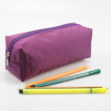 Plain Purple Zipper Pen Case Cosmetic Makeup Pouch School Pencil Bag