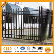 Black polyester painting spear top iron square tube fence panels