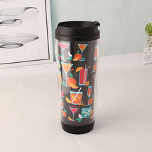 No leaking 350ml thermal custom design paper insert double wall plastic coffee tumbler