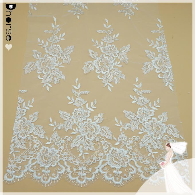 Chinese exporter good quality embroidered davids bridal fabric