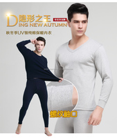 wholesale V neck mens long johns thermal underwear 100% cotton white navy gray with shirt and pant